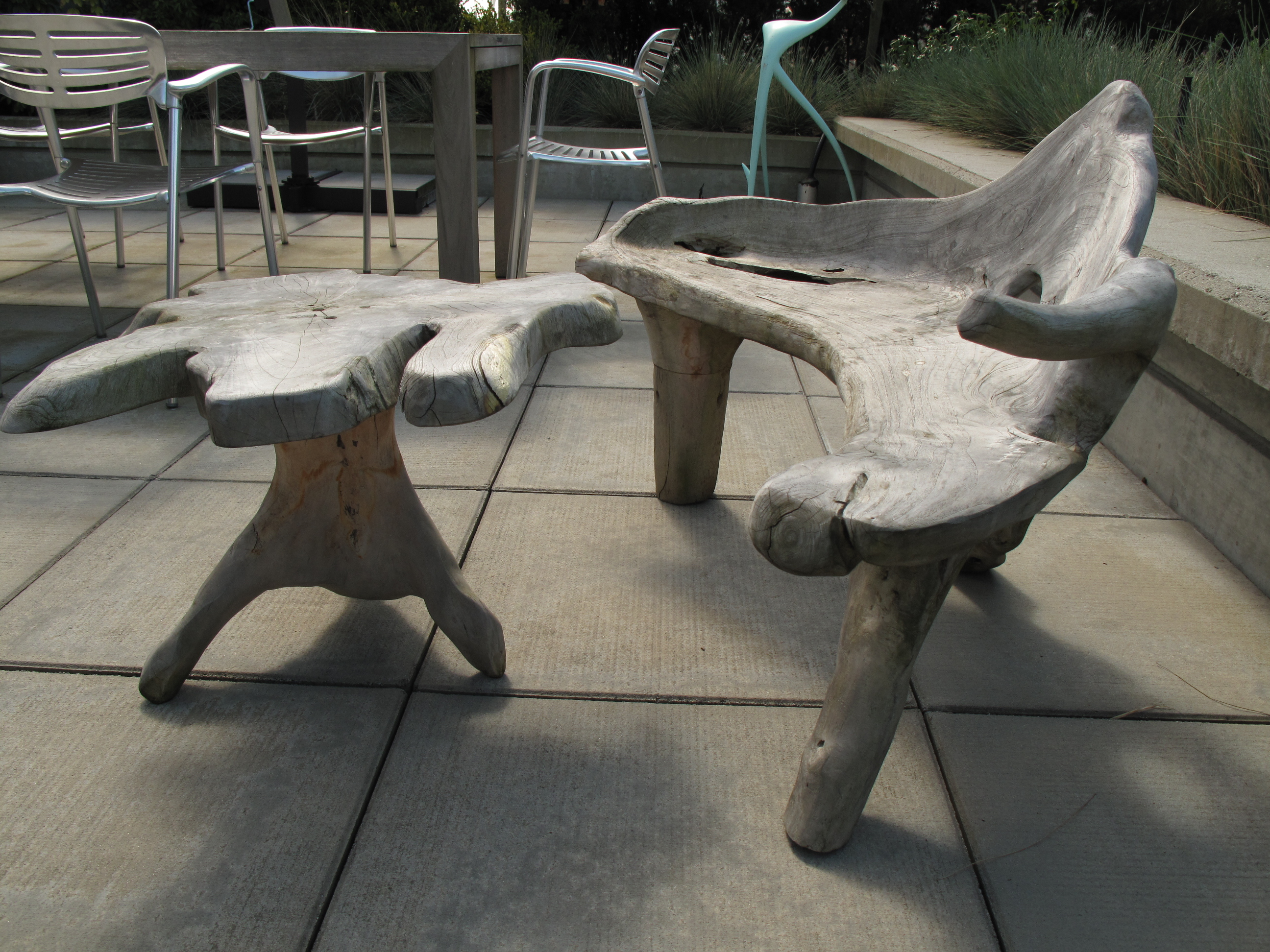 For Sale: Custom Driftwood Outdoor Chair + Table